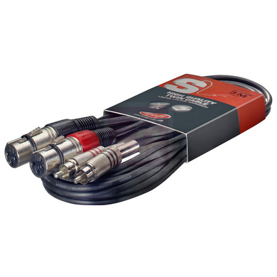 RCA Male to XLR Female Twin Cable - 3m - Stagg STC3CMXF at