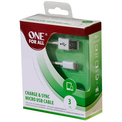 Charge & Sync Micro USB Cable 3M - White - One For All